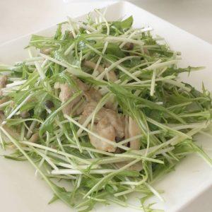 水菜と豚肉、しめじのサラダ〜おうちカフェ〜